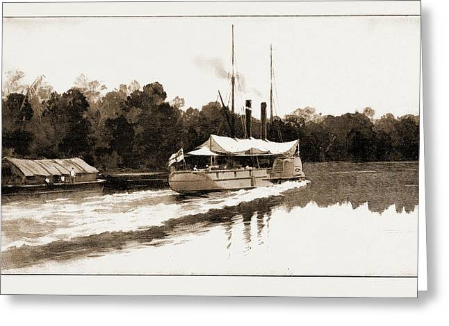 The Benin Punitive Expedition A River Scene On The Way Greeting Card by Litz Collection