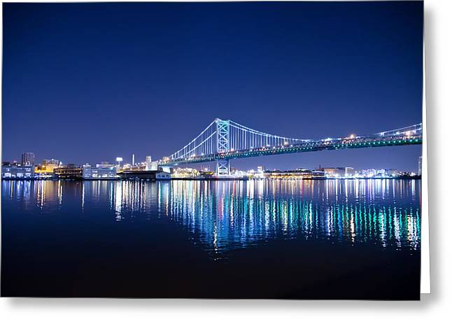 Greeting Card featuring the photograph The Benjamin Franklin Bridge At Night by Bill Cannon