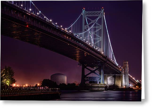 Greeting Card featuring the photograph The Benjamin Franklin Bridge by Linda Karlin