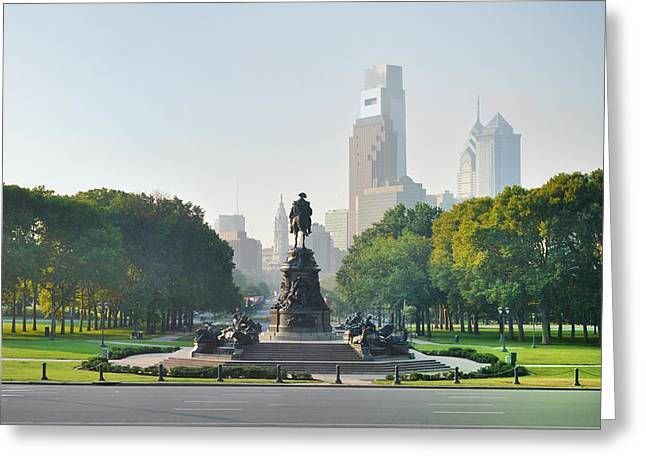 Greeting Card featuring the photograph The Benjamin Franklin Parkway - Philadelphia Pennsylvania by Bill Cannon