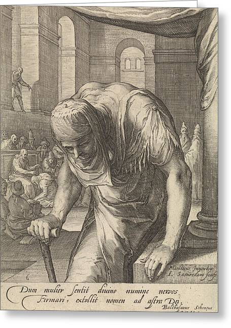 The Bent Woman, Jan Saenredam, Balthasarus Schonaeus Greeting Card