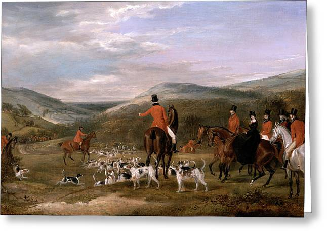 The Berkeley Hunt, 1842 The Meet Signed And Dated Greeting Card by Litz Collection