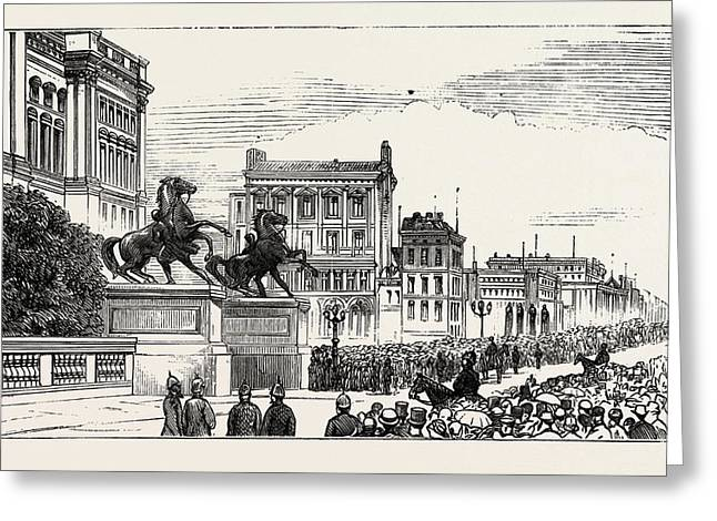 The Berlin Congress,entrance To The Royal Castle Greeting Card by German School