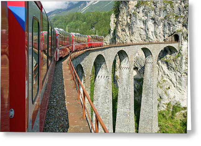 The Bernina Glacier Express Greeting Card by Ashley Cooper