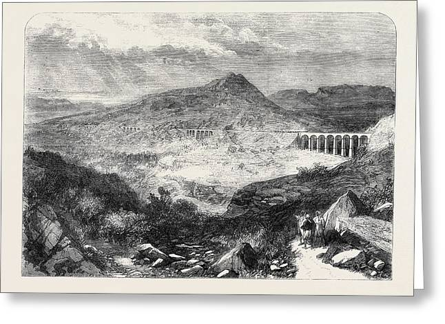The Bhore Ghaut Incline The Great Indian Peninsular Railway Greeting Card by Indian School
