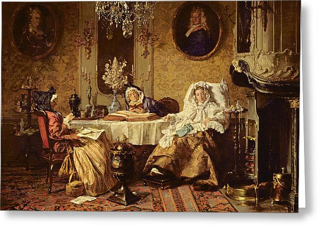 The Bible Reading, 1879 Greeting Card by Alexander Hugo Bakker-Korff