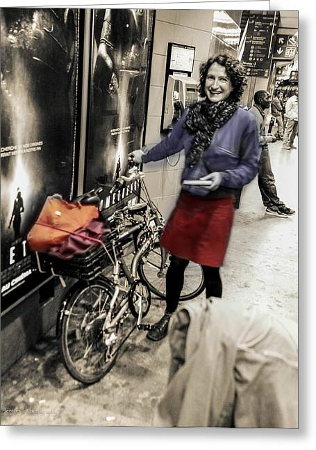 The Bicycle Girl Greeting Card by Ross Henton