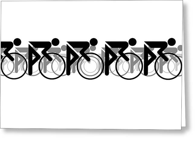 Greeting Card featuring the digital art The Bicycle Race 2 White by Brian Carson