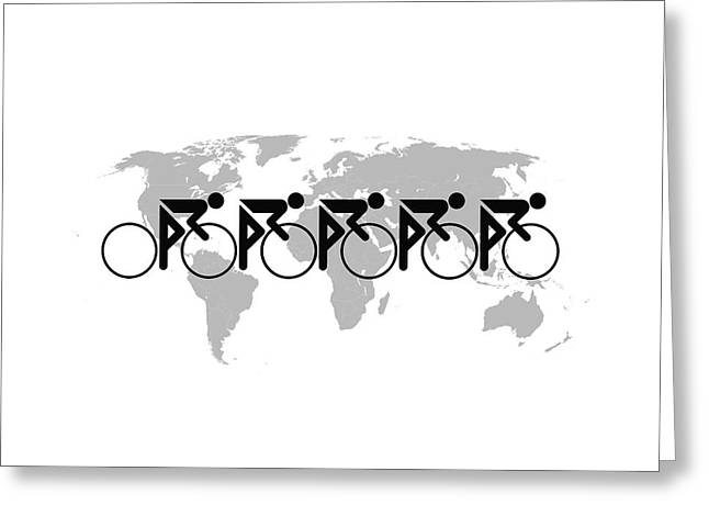 Greeting Card featuring the digital art The Bicycle Race 3 by Brian Carson