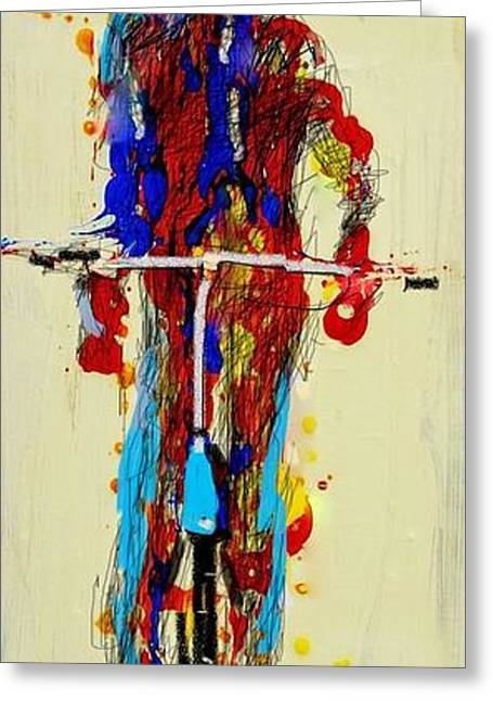 The Bicyclist Greeting Card by Jean Cormier