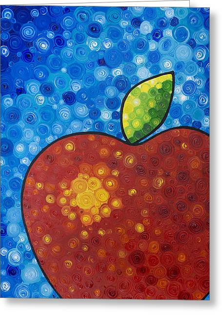 The Big Apple - Red Apple By Sharon Cummings Greeting Card