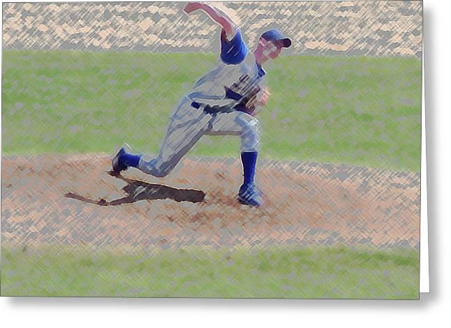 The Big Baseball Pitch Digital Art Greeting Card by Thomas Woolworth