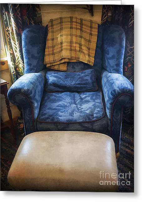 The Big Blue Chair - Oil Greeting Card by Edward Fielding