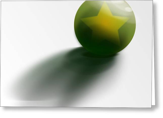 Greeting Card featuring the digital art Green Ball Decorated With Star White Background by R Muirhead Art