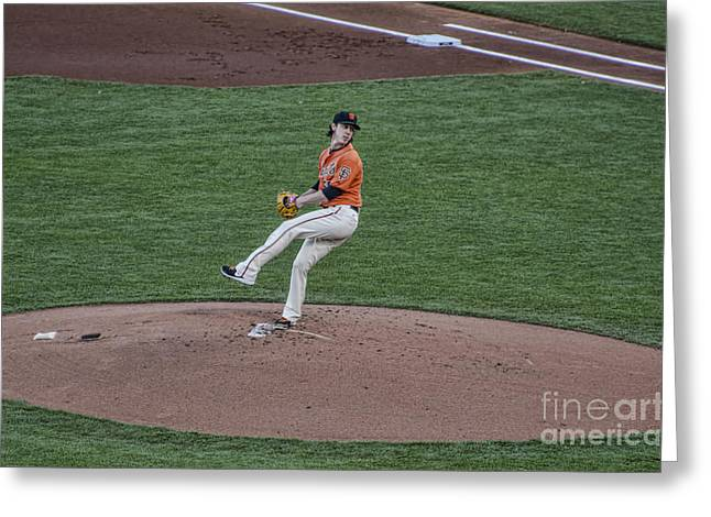 The Big Pitcher Greeting Card by Judy Wolinsky
