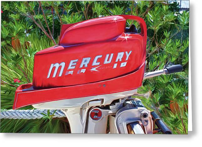 The Big Red Mercury Engine Greeting Card