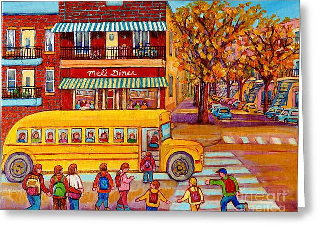 The Big Yellow School Bus Street Scene Paintings Of Montreal Greeting Card by Carole Spandau