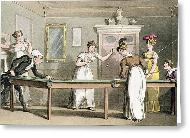 The Billiard Table, From The Tour Of Dr Greeting Card by Thomas Rowlandson