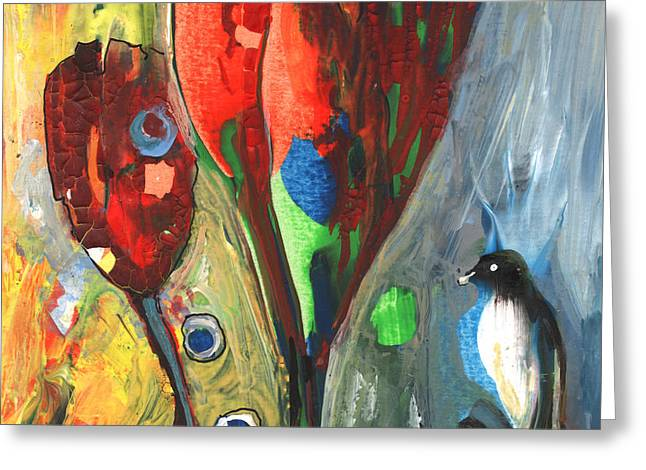 The Bird And The Tulips Greeting Card