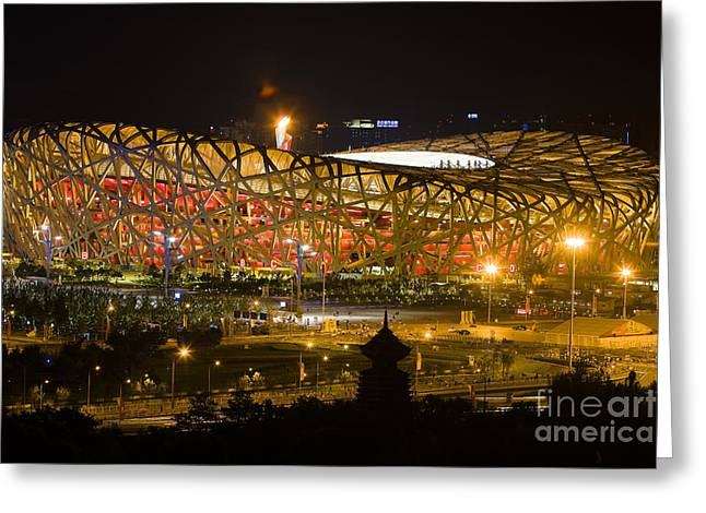 The Birds Nest Stadium China Greeting Card