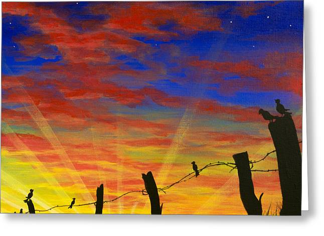 The Birds - Red Sky At Night Greeting Card by Jack Malloch