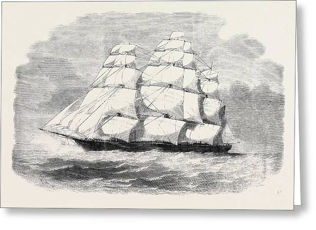 The Black Ball Line Clipper Ship James Baines With Troops Greeting Card