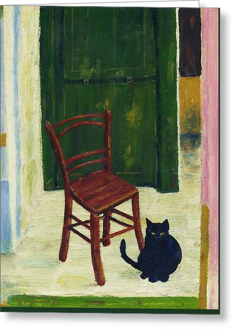 The  Black Cat Greeting Card by Hartmut Jager