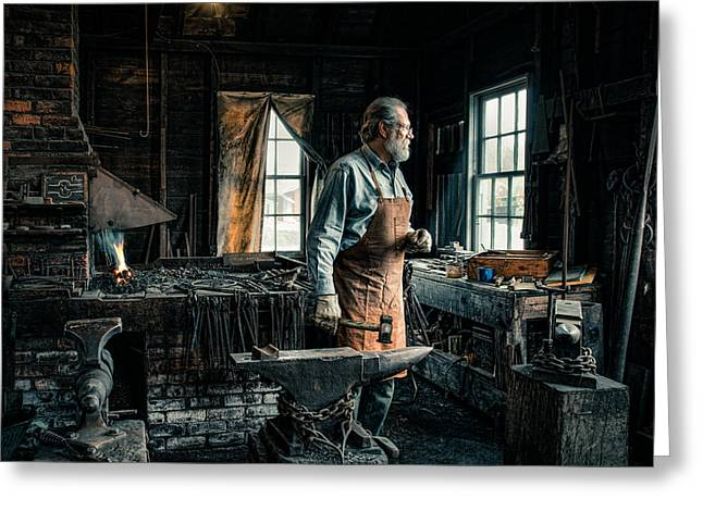 The Blacksmith - Smith Greeting Card by Gary Heller