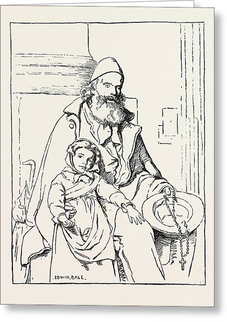 The Blind Beggar Greeting Card by Bale, Edwin (1838-1923), English
