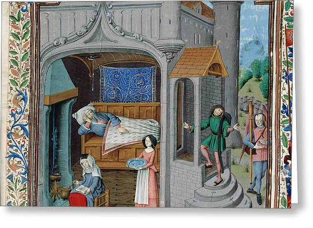 The Blinding And Cure Of Tobit Greeting Card by British Library