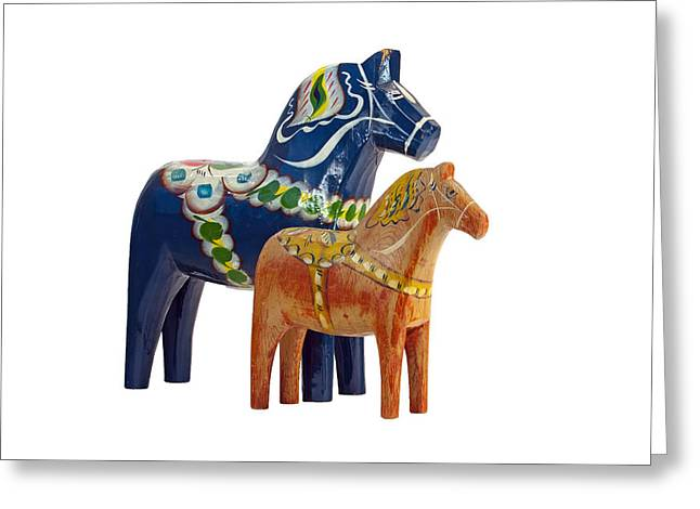 The Blue And Red Dala Horse Greeting Card