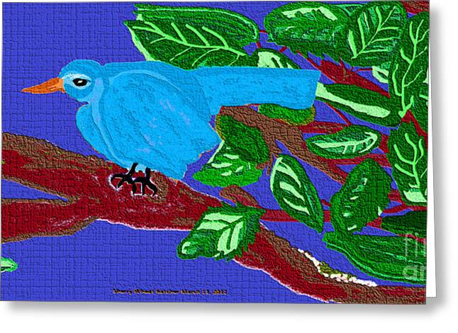 The Blue Bird Greeting Card by Sherry  Hatcher