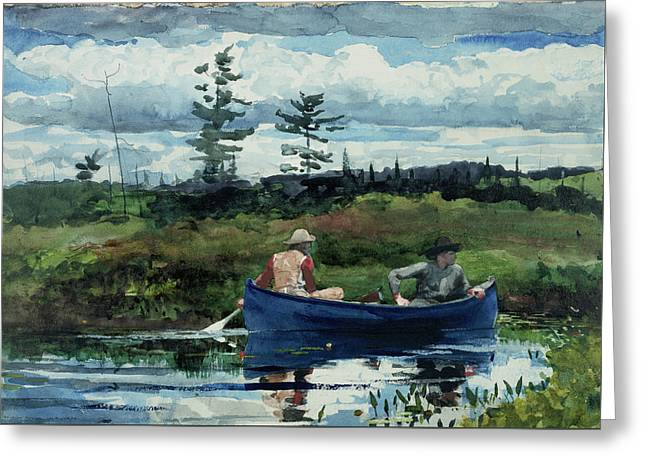The Blue Boat Greeting Card by Winslow Homer