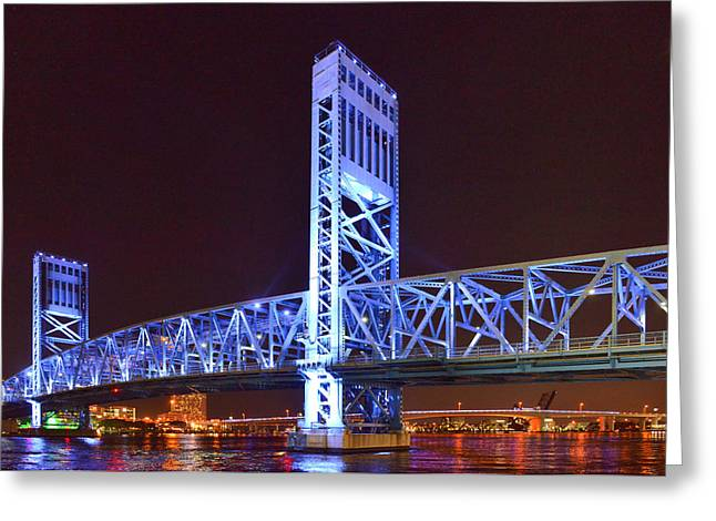 The Blue Bridge - Main Street Bridge Jacksonville Greeting Card by Christine Till