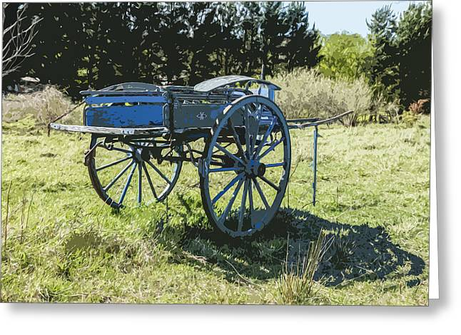 The Blue Cart Greeting Card by Gary Cowling