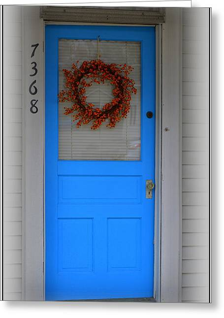 The Blue Door With Bittersweet Wreath Greeting Card by Kathy Barney
