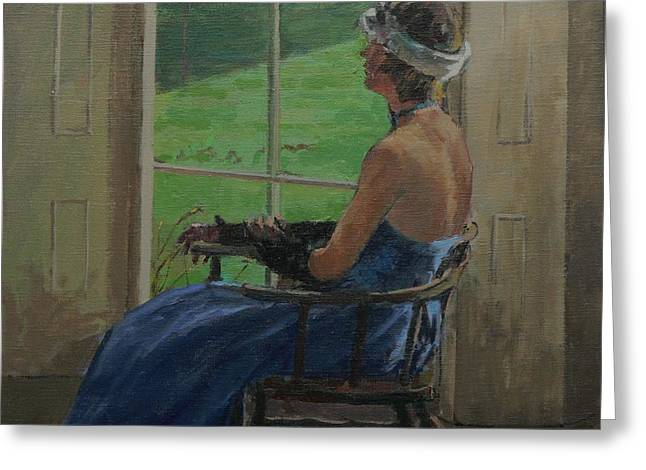The Blue Dress, 2009 Oil On Canvas Greeting Card by Pat Maclaurin