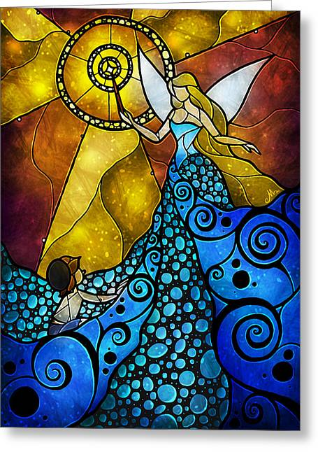 The Blue Fairy Greeting Card by Mandie Manzano