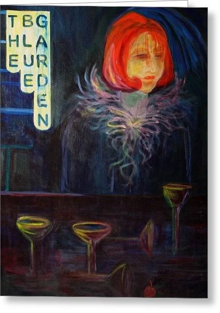 The Blue Garden Greeting Card by Carolyn LeGrand