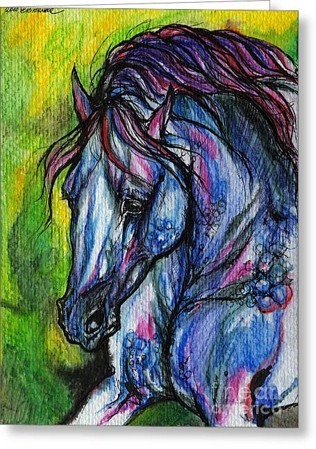 Wild Horse Greeting Cards - The Blue Horse On Green Background Greeting Card by Angel  Tarantella
