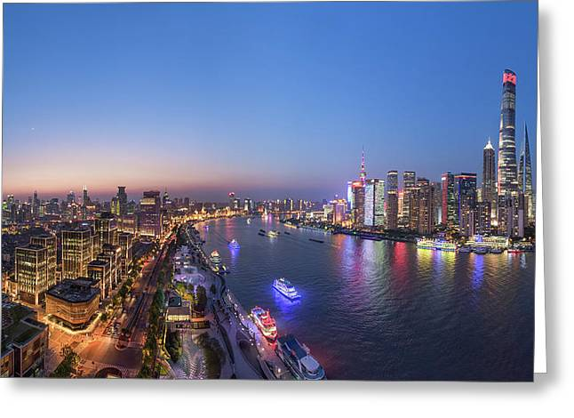 The Blue Hour In Shanghai Greeting Card