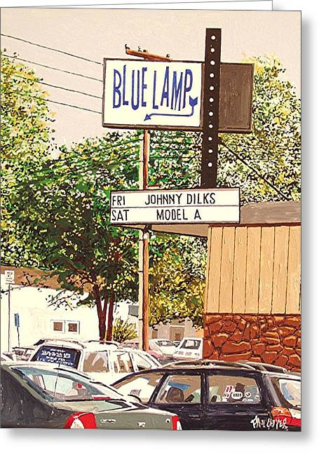 The Blue Lamp In Midtown Greeting Card by Paul Guyer
