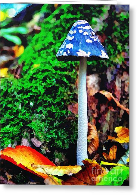 The Blue Mushroom Greeting Card by Odon Czintos