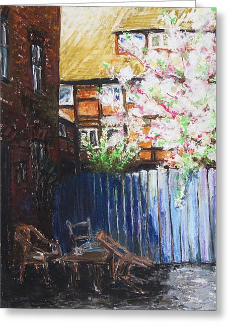 The Blue Paling - Backyard Of The Arthouse Buetzow Greeting Card by Barbara Pommerenke