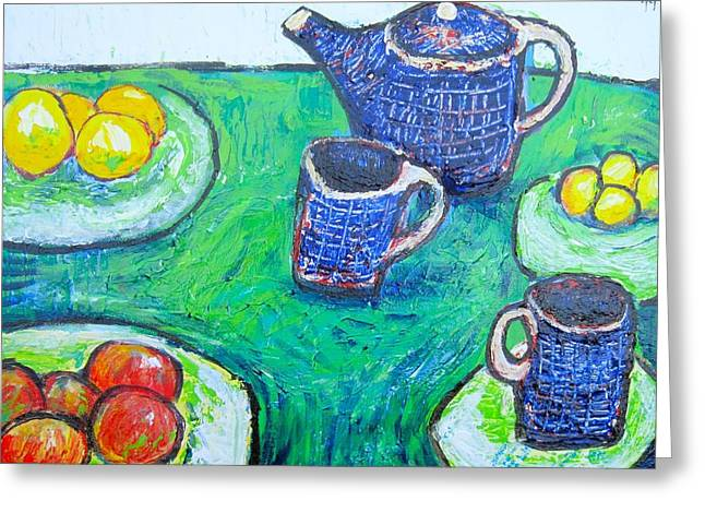 The Blue Teapot Greeting Card by Clarence Major