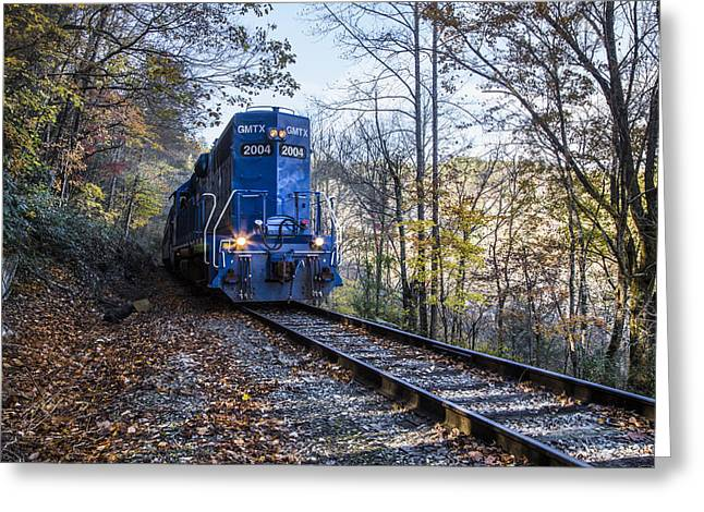 The Blue Train Greeting Card by Debra and Dave Vanderlaan
