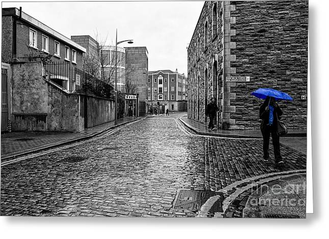 The Blue Umbrella - Sc Greeting Card by Mary Carol Story