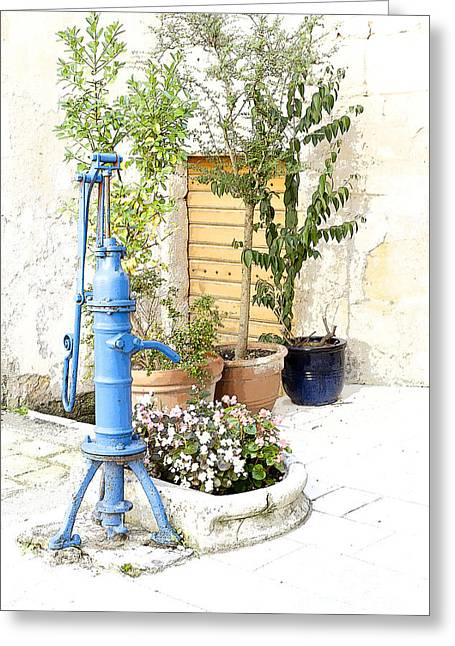 The Blue Water Pump Greeting Card by Heiko Koehrer-Wagner