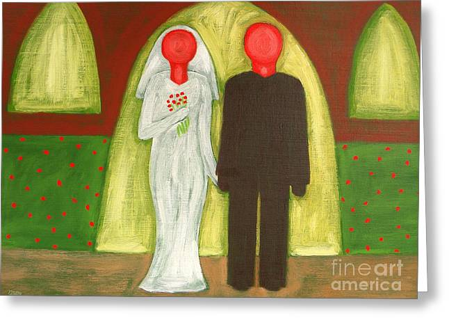The Blushing Bride And Groom Greeting Card by Patrick J Murphy