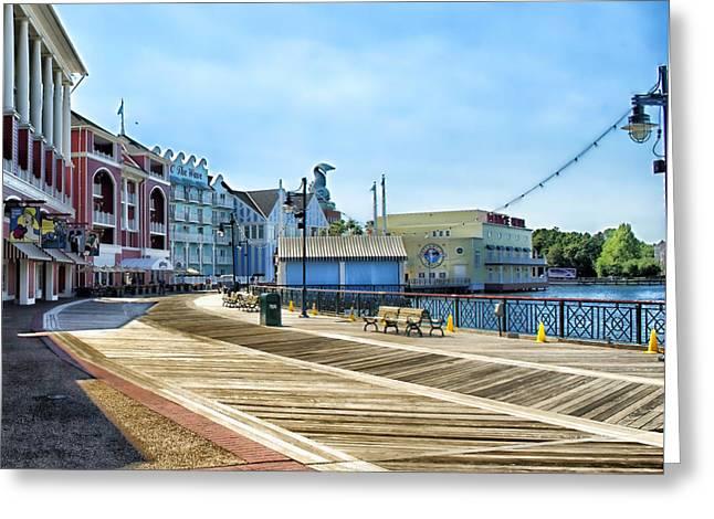 The Boardwalk Sidewalk Walt Disney World Greeting Card by Thomas Woolworth